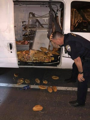 Redding police investigate a stolen donut van found early Thursday morning in downtown Redding. Police said they were heartbroken that so many donuts had to be thrown away.