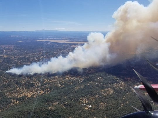 The Mountain Fire is burning in the Jones Valley area of Shasta County on Thursday, Aug. 22, 2019.