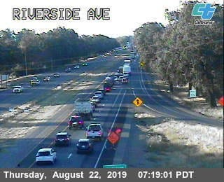 The scene on Thursday, Aug. 22, 2019, around Riverside Avenue after an overnight big-rig wreck. Traffic has been reduced to one lane in the area.