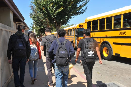 Students get out of class at Salinas High School. Aug. 20, 2019.