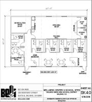 The floor plan of the Salinas Union High School District's Wellness Centers by Salinas-based Beli Architectural Group.