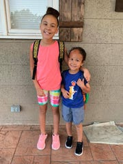 Liam and his sister, Lyla, on their first day of school this year.