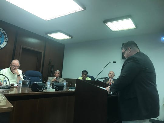 Robert Bridgham, Eastern Shore of Virginia Broadband Authority, addresses the Accomack County Board of Supervisors on Wednesday, Aug. 21, 2019 in Accomac, Virginia.