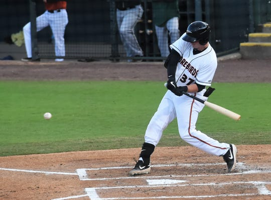 Baltimore Orioles' No. 1 overall pick Adley Rutschman takes a swing during his Delmarva Shorebirds' debut on Wednesday, Aug. 21, 2019.