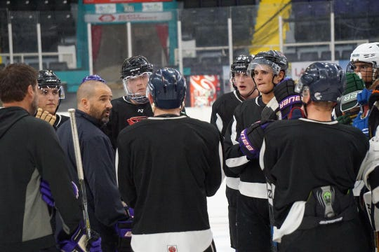 Shreveport Mudbugs head coach Jason Campbell speaks to players trying to make the 2019-20 roster during Thursday's return to the ice at The George.