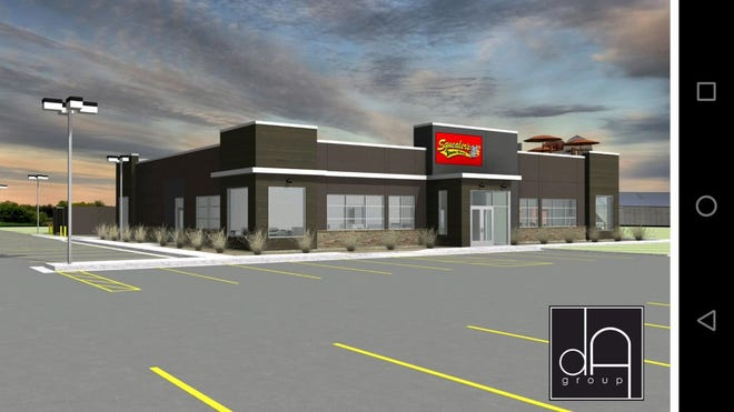 A rendering shows the new Squealer's Smoke Shack planned for 840 Gateway Lane.