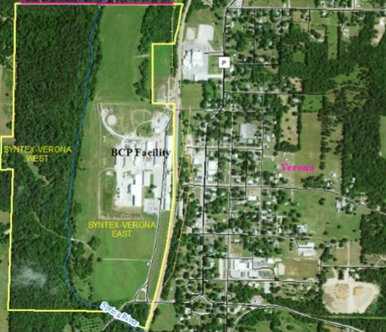 DNR map shows the footprint of the Syntex Superfund Cleanup site, marked in yellow,  on the west edge of the town of Verona.