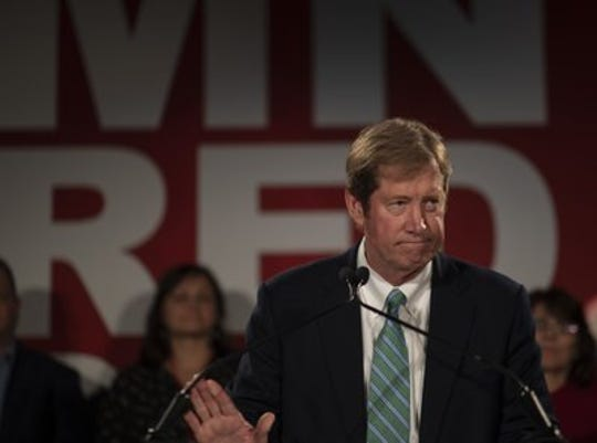 FILE - In this Nov 6, 2018 file photo, U.S. Congressman Jason Lewis gave his concession speech at the Republican Party of Minnesota headquarters in Bloomington, Minn. (Jerry Holt/Star Tribune via AP File)