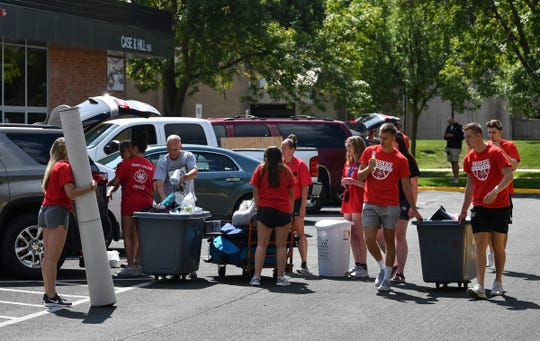 Belongings are moved into the Case & Hill residence halls Thursday, Aug. 22, at St. Cloud State University.