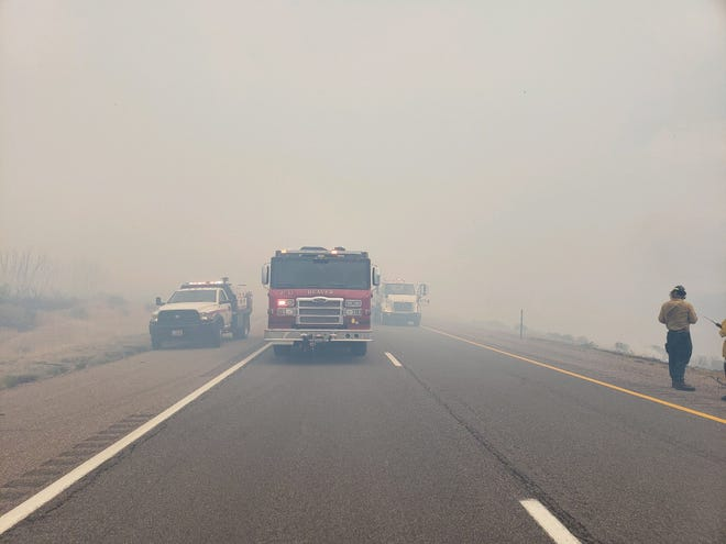 A brush fire along Interstate 15 north of Beaver was causing delays for travelers Thursday afternoon. The blaze was estimated at about 50 acres as of 12:30 p.m.