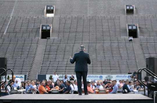UTEP Athletic Director Jim Senter speaks at the Morning With the Miners Thursday at the Sun Bowl.