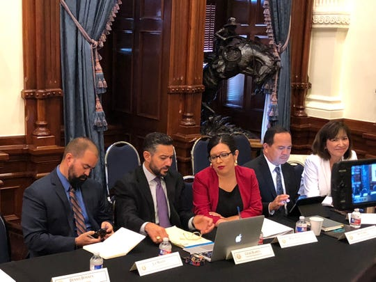 Members of the El Paso state legislative delegation, including Joe Moody, far left, were in attendance at an Aug. 22, 2019 roundtable discussion held after the mass shooting in El Paso.