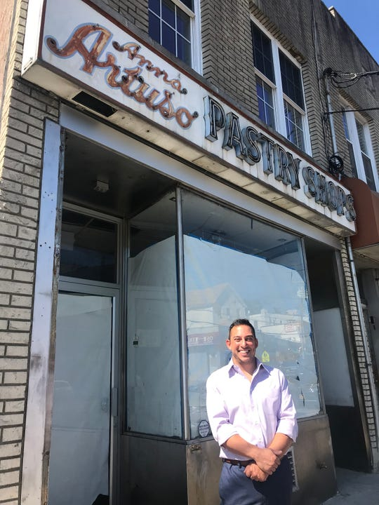 RJ Puma stands in front of his old bakery Anna Artuso's Pastry Shop on McLean Avenue in Yonkers.