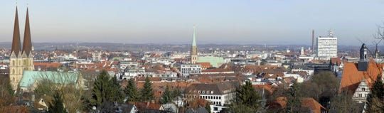 Panorama picture created from several frames on January 20, 2009 shows the western German city of Bielefeld.    AFP PHOTO    DDP/NIGEL TREBLIN    GERMANY OUT  (Photo credit should read NIGEL TREBLIN/AFP/Getty Images)