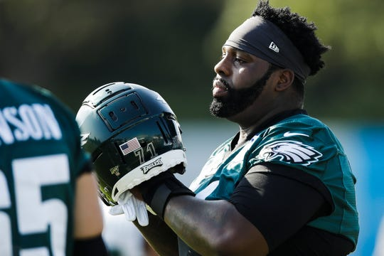 Philadelphia Eagles offensive tackle Jason Peters during practice at the team's training camp in Philadelphia, Friday, July 26.