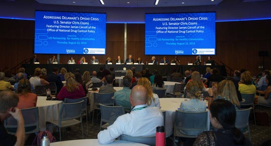 Sen. Chris Coons invited Dir. James Carroll of the National Office of Drug Control Policy to join a panel of Delaware leaders to talk about the opioid crisis in Delaware on Thursday at the University of Delaware's STAR campus.