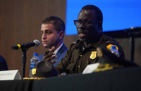 New Castle County Police Col. Vaughn Bond talks about how his agency has dealt with the opioid crisis in Delaware during a roundtable conversation with families, first responders, law enforcement agencies, and the addiction and recovery communities.