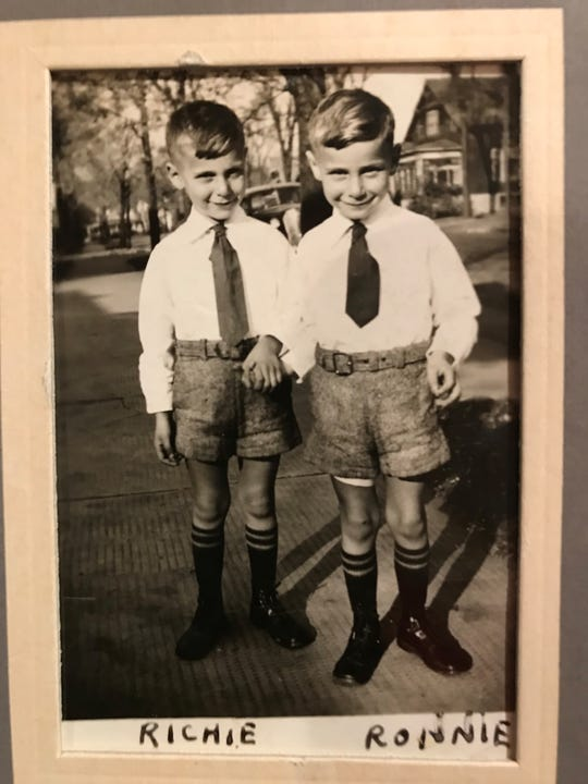 Richie and Ronnie Hoffman on their first day of school in Menominee, Michigan