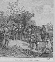Undated engraving depicts the first trading of enslaved Africans at Jamestown, Virginia, in 1619.