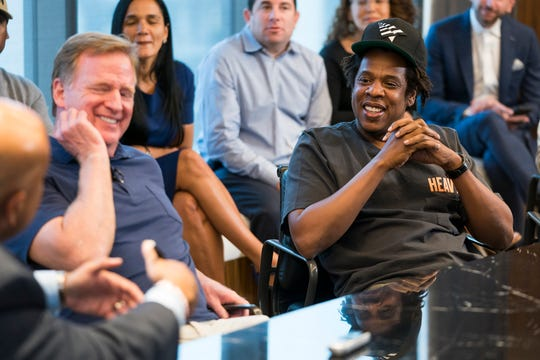 NFL Commissioner Roger Goodell and Jay-Z in New York.