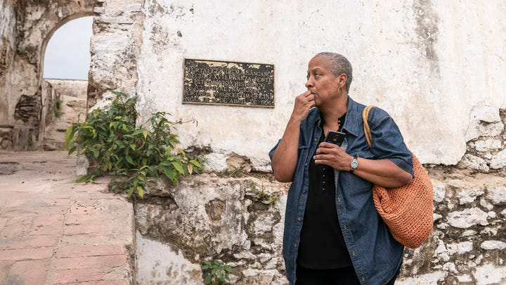 1619 Project: Wanda Tucker sits outside of the Fortaleza de Massangano on Saturday, Aug. 3, 2019 in Angola.