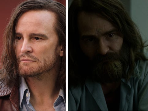 """Damon Herrigan as Charles Manson in """"Once Upon a Time in Hollywood,"""" left, and """"Mindhunter."""""""