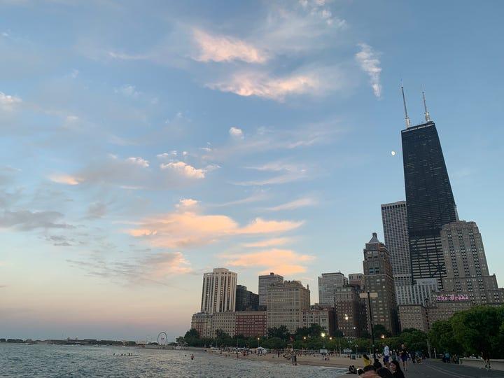 Sunset on Oak Street Beach in Chicago