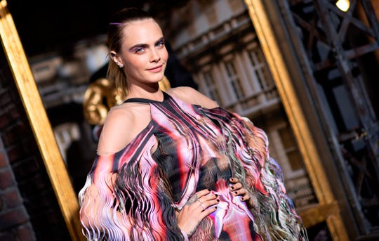 """Cara Delevingne arrives for the Los Angeles premiere of Amazon Original Series """"Carnival Row"""" at the TCL Chinese theatre on Aug. 21, 2019."""