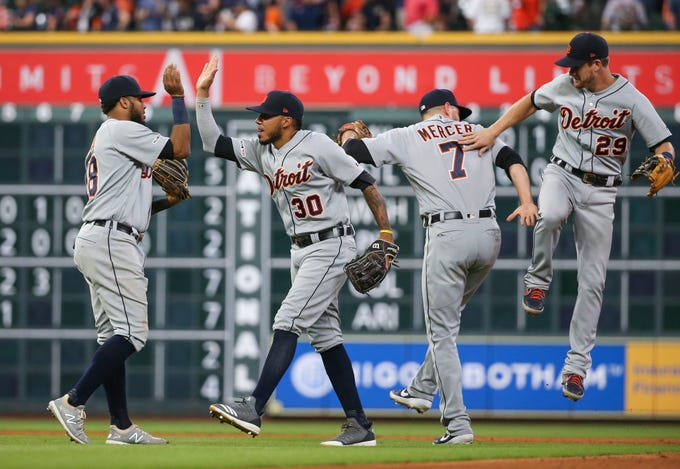 Aug. 21: The Detroit Tigers celebrate after defeating the Houston Astros.