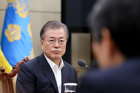 Pictured at the South Korean Presidents Blue House, South Korean President Moon Jae-in, reports from officials under the Military Information Security Agreement, or GSOMIA, at the President's Blue House in Seoul, South Korea, on Thursday. , August. 22, 2019. South Korea will stop exchanging classified information for North Korea with Japan among bitter trade disputes, said Thursday's official, likely surprising announcement of US efforts to strengthen security cooperation with two of its most important alliances of Asia region.