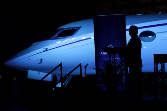 Ron Aldrich, Vice President and General Manager, stands in front of a new G650ER as he leads the opening ceremony of the new Gulfstream service center at Appleton International Airport Friday, August 23, 2019, in Greenville, Wis.  Dan Powers/USA TODAY NETWORK-Wisconsin