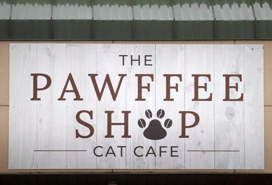 The Pawffee Shop Cat Cafe's new sign.
