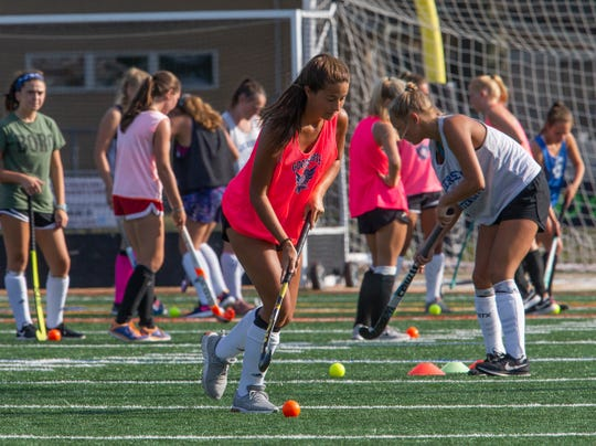 Point Pleasant Boro field hockey practice in Point Pleasant Boro, NJ on August 22, 2019.