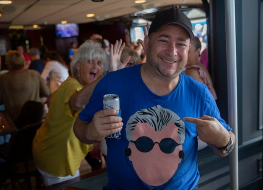 Scott Zukowski, 44, of Nutley, shows of his Mike Francesa shirt. People attend the WFAN's Mike Francesa Summer Send-Off show at Bar Anticipation in Lake Como, NJ on August 23, 2019.