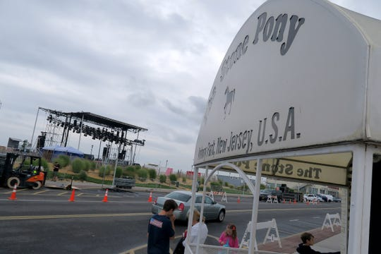 The build out for the boardwalk stage that the Jonas Brothers will use for their MTV Video Music Awards performance continues Friday, August 23, 2019, across Ocean Avenue from the Stone Pony in Asbury Park.