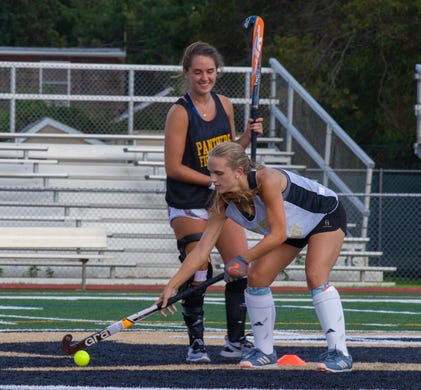 Jordan Carr during drills in practice. Point Pleasant Boro field hockey practice in Point Pleasant Boro, NJ on August 22, 2019.