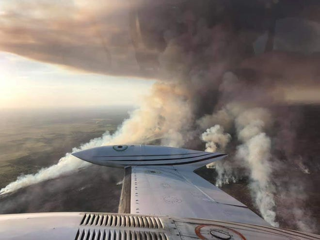 An aerial view of the Vivian Fire in Foard County on Thursday.