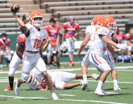 A San Angelo Central quarterback (16) throws a pass during the Bobcats' scrimmage against Cooper on Friday, Aug. 23, 2019, at Shotwell Stadium.