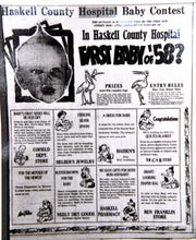 A newspaper clipping from Jan, 2, 1958 about then Haskell County Hospital's contest for the first baby of the year.