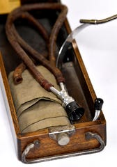 A vintage stethoscope on display during the Haskell Memorial Hospital open house.