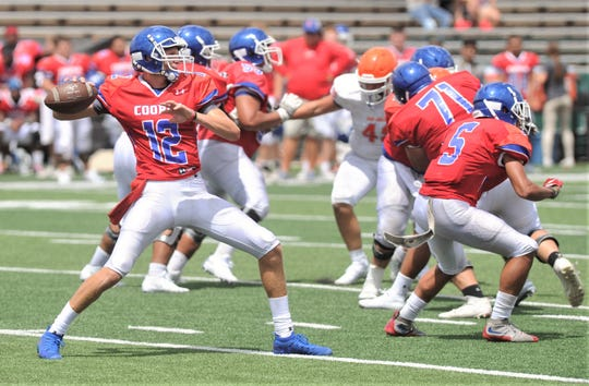 Cooper quarterback Aidan Thompson (12) looks to throw the ball against San Angelo Central, while Gage McVey (71), a receiver and the rest of the offensive line block during the Aug. 23 scrimmage at Shotwell Stadium.