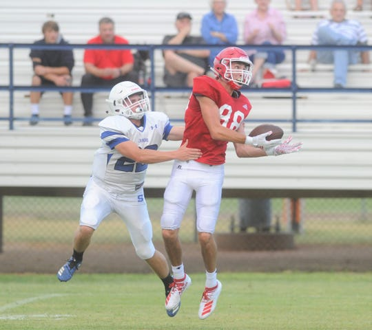 Jim Ned receiver Cade Ford (88) hauls in a pass during a scrimmage against Stamford on Aug. 22 at Bill Anderson Stadium in Stamford.