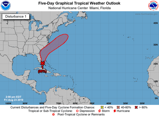 The weather service says there is a 90 percent likelihood the system off the southeast Florida coast will become a tropical depression or storm within the next five days.