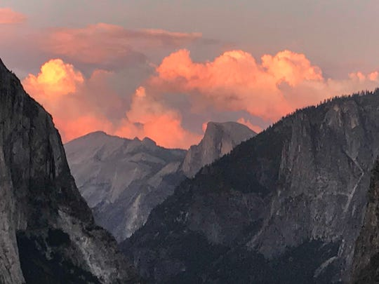 This sunset in Yosemite showcased Half Dome in the distance.