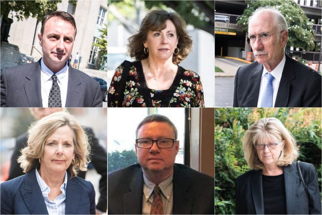 Six people face corruption charges stemming from a federal investigation into Buncombe County government. From left, clockwise: Michael Greene, Wanda Greene, Jon Creighton, Mandy Stone, Joe Wiseman and Ellen Frost.