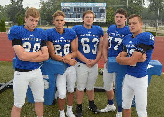The 2019 Harper Creek football team will be led by returning leaders, from left, Drew Mitchell, Easton Kolassa, Connor Dugan, Aspen Kortz and Nick Disher.