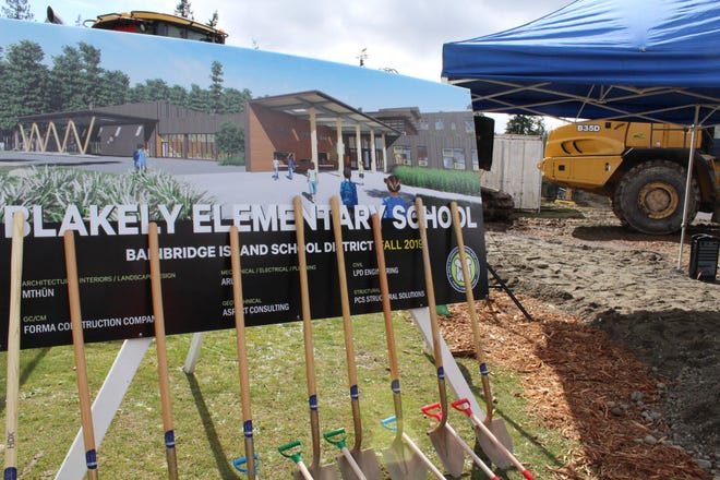 A photo was taken at the groundbreaking in March for a new Blakely Elementary School on Bainbridge Island