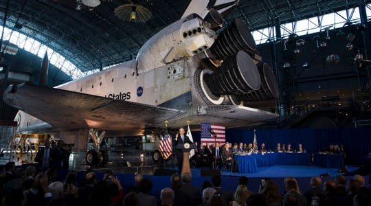Vice President Mike Pence delivers opening remarks during the sixth meeting of the National Space Council on Tuesday, Aug. 20, 2019 at the Smithsonian National Air and Space Museum in Virginia.