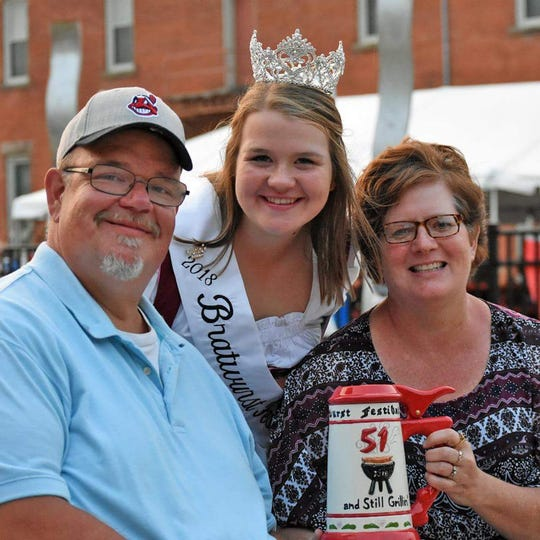 Matt, Emily and Kim Rudd, from left, at the 2018 Bucyrus Bratwurst Festival, the year Emily was crowned queen.