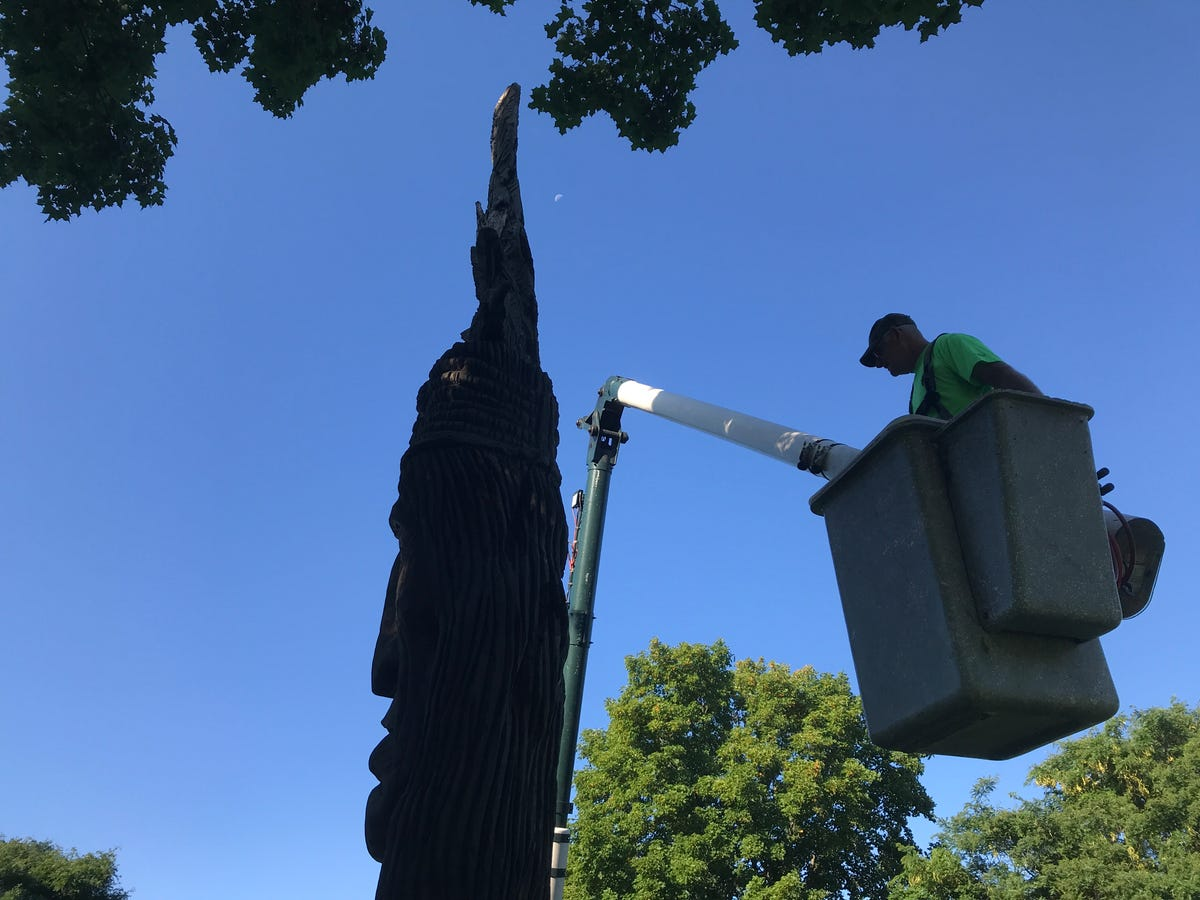 What's ailing the totem-pole-like sculpture in Burlington's